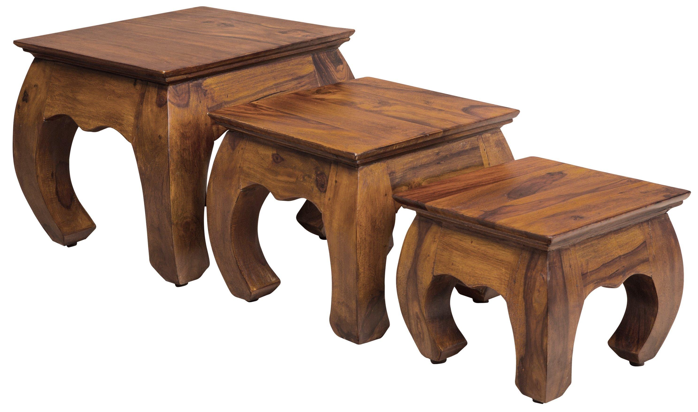 "3-tlg. Hocker Satz JONT ""Indische Massiv- Holz- Möbel"""
